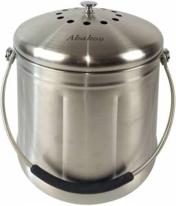 Abakoo Compost Bin 304 Stainless Steel Kitchen Composter Waste