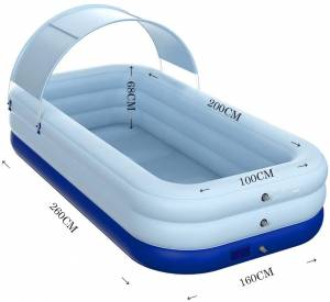 JustinCIty Inflatable Pool with Canopy,Family Lounge Pool, Inflatable Lounge Pool for