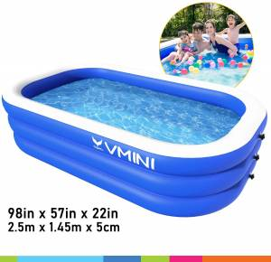"""Vmini Inflatable Swimming Pool, 98"""" X 57"""" X 22"""" Full-Sized Swim Center Family Lounge Rectangular Pool, for Ages 3+, Outdoor, Garden, Backyard"""